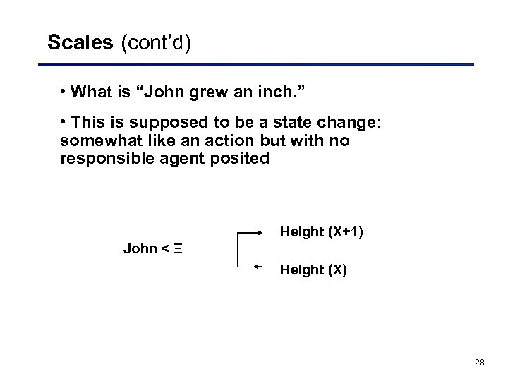 "Scales (cont'd) • What is ""John grew an inch. "" • This is supposed"