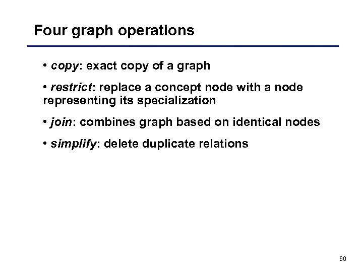 Four graph operations • copy: exact copy of a graph • restrict: replace a