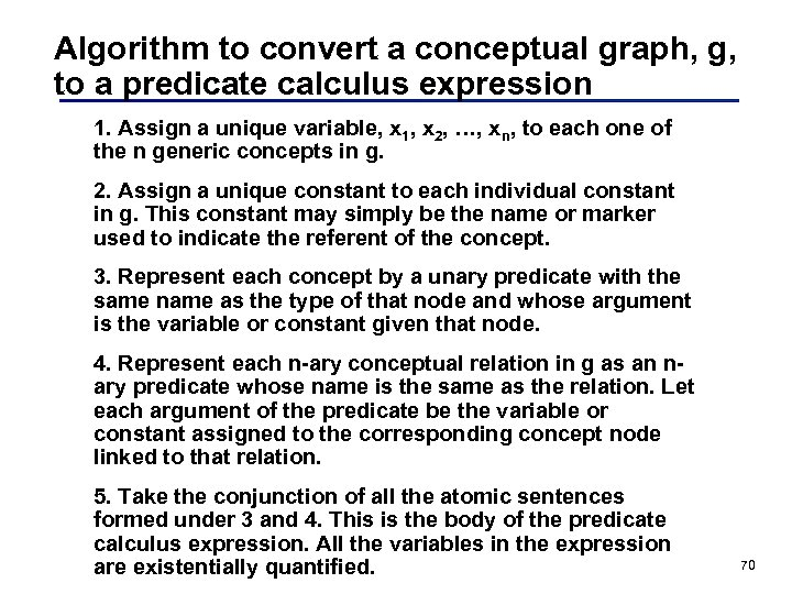 Algorithm to convert a conceptual graph, g, to a predicate calculus expression 1. Assign