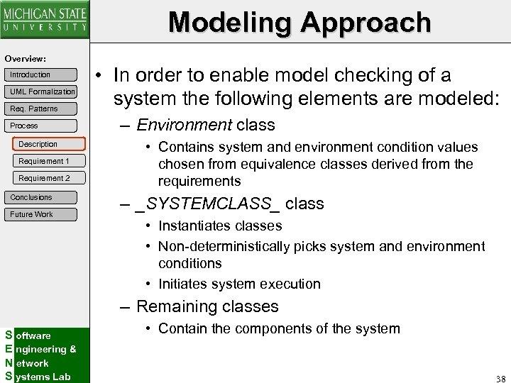 Modeling Approach Overview: Introduction UML Formalization Req. Patterns Process Description Requirement 1 Requirement 2