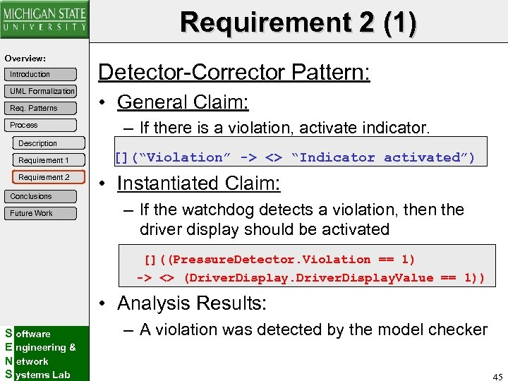 Requirement 2 (1) Overview: Introduction UML Formalization Req. Patterns Process Detector-Corrector Pattern: • General