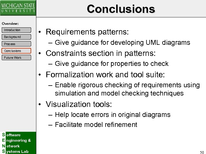 Conclusions Overview: Introduction Background Process Conclusions Future Work • Requirements patterns: – Give guidance