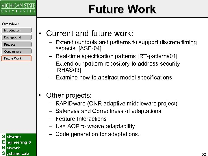 Future Work Overview: Introduction Background Process Conclusions Future Work • Current and future work:
