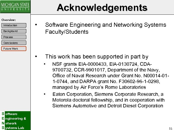 Acknowledgements Overview: • Software Engineering and Networking Systems Faculty/Students • Introduction This work has