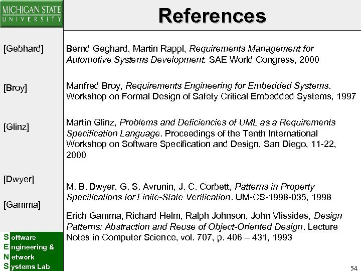 References [Gebhard] Bernd Geghard, Martin Rappl, Requirements Management for Automotive Systems Development. SAE World