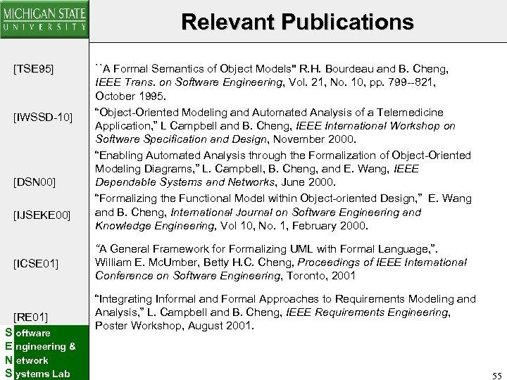 Relevant Publications [TSE 95] [IWSSD-10] [DSN 00] [IJSEKE 00] [ICSE 01] [RE 01] S