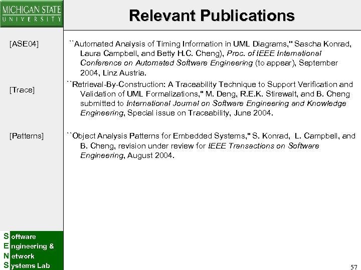 Relevant Publications [ASE 04] [Trace] [Patterns] S oftware E ngineering & N etwork S