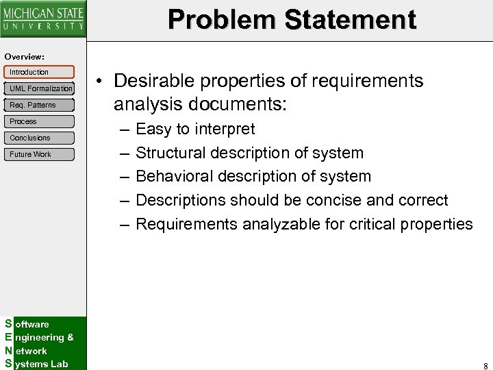 Problem Statement Overview: Introduction UML Formalization Req. Patterns Process Conclusions Future Work S oftware