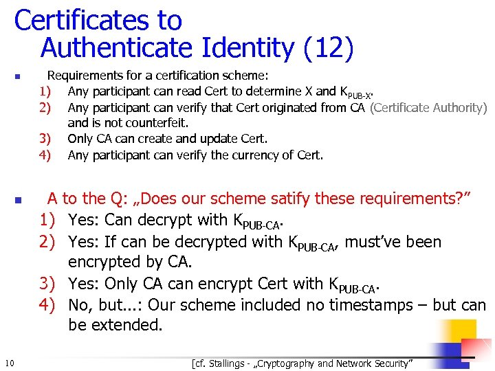Certificates to Authenticate Identity (12) n n 10 Requirements for a certification scheme: 1)