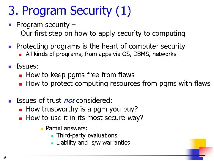 3. Program Security (1) § Program security – Our first step on how to