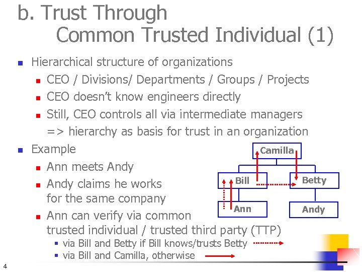 b. Trust Through Common Trusted Individual (1) n n Hierarchical structure of organizations n