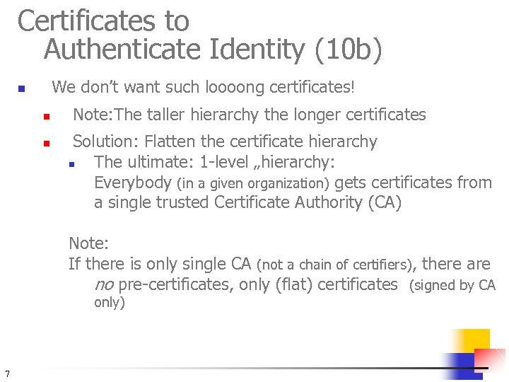 Certificates to Authenticate Identity (10 b) We don't want such loooong certificates! n n