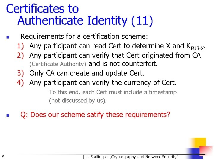 Certificates to Authenticate Identity (11) n Requirements for a certification scheme: 1) Any participant