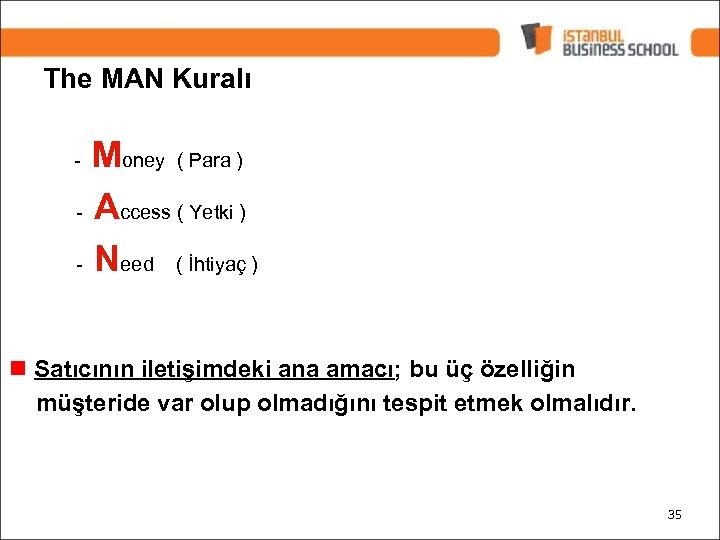 The MAN Kuralı Money ( Para ) - Access ( Yetki ) - Need