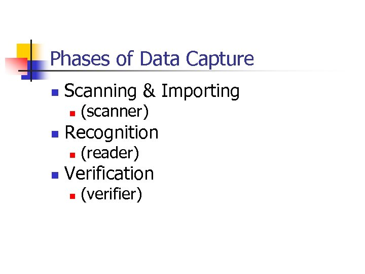 Phases of Data Capture n Scanning & Importing n n Recognition n n (scanner)