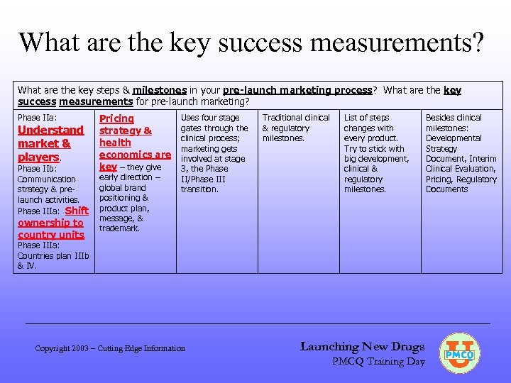 What are the key success measurements? What are the key steps & milestones in