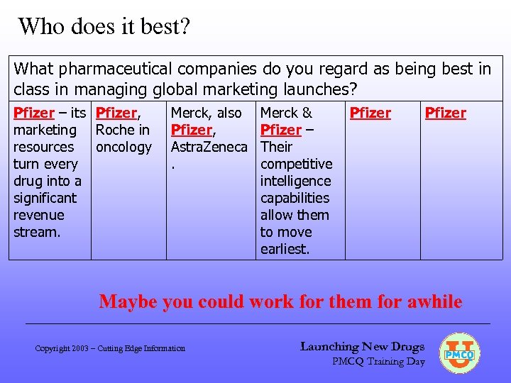 Who does it best? What pharmaceutical companies do you regard as being best in