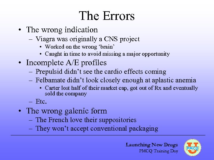 The Errors • The wrong indication – Viagra was originally a CNS project •