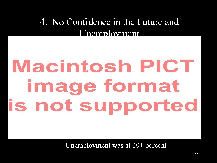 4. No Confidence in the Future and Unemployment was at 20+ percent 20
