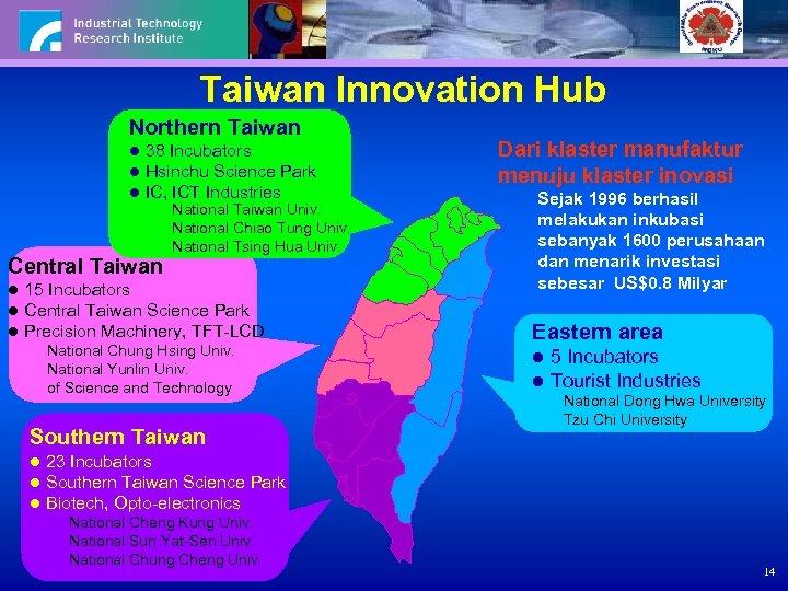 Taiwan Innovation Hub Northern Taiwan l 38 Incubators l Hsinchu Science Park l IC,