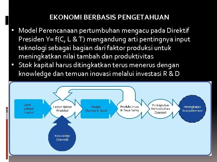 EKONOMI BERBASIS PENGETAHUAN • Model Perencanaan pertumbuhan mengacu pada Direktif Presiden Y= f(C, L