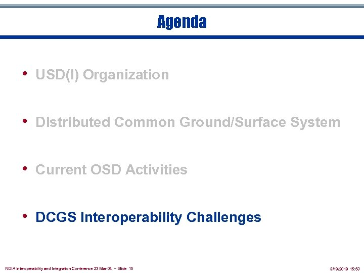 Agenda • USD(I) Organization • Distributed Common Ground/Surface System • Current OSD Activities •