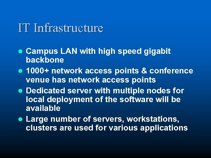 IT Infrastructure Campus LAN with high speed gigabit backbone l 1000+ network access points
