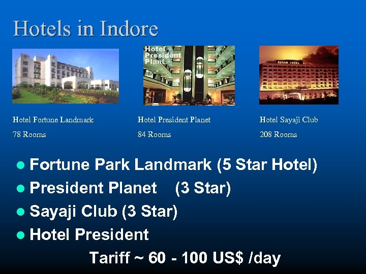 Hotels in Indore Hotel Fortune Landmark Hotel President Planet Hotel Sayaji Club 78 Rooms