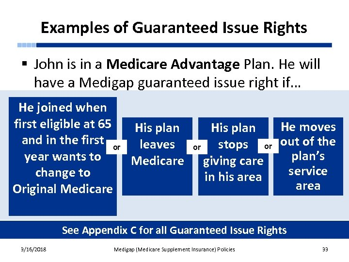 Examples of Guaranteed Issue Rights § John is in a Medicare Advantage Plan. He