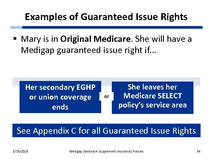 Examples of Guaranteed Issue Rights § Mary is in Original Medicare. She will have