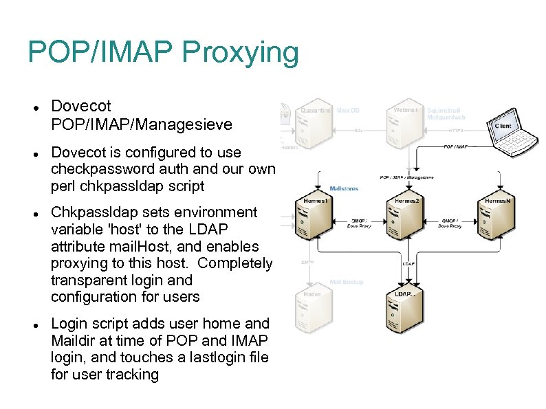 POP/IMAP Proxying Dovecot POP/IMAP/Managesieve Dovecot is configured to use checkpassword auth and our own