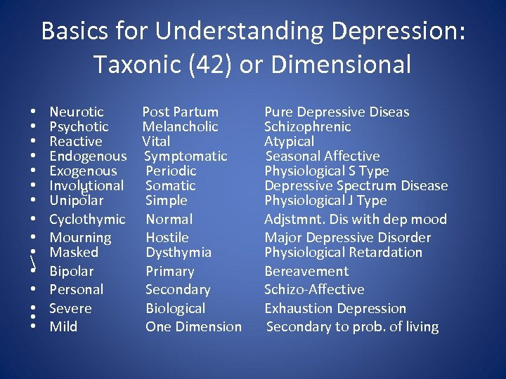 Basics for Understanding Depression: Taxonic (42) or Dimensional • • •  • •
