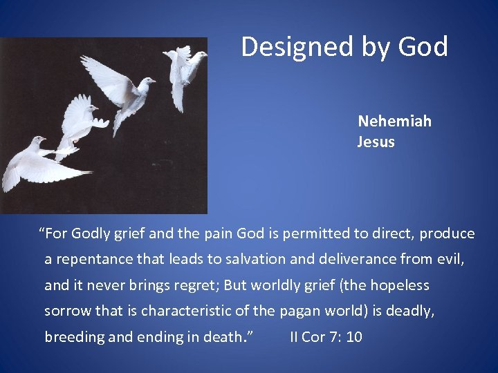 "Designed by God Nehemiah Jesus ""For Godly grief and the pain God is permitted"
