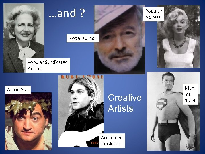 …and ? Popular Actress Nobel author Popular Syndicated Author Actor, SNL Creative Artists Acclaimed