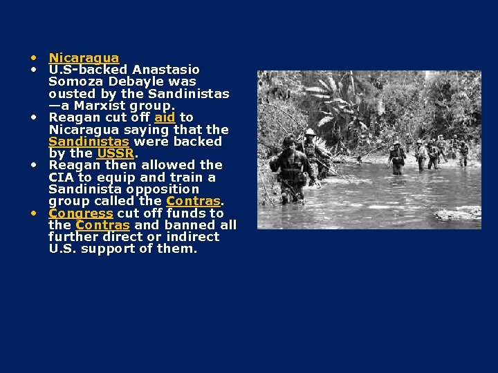 • Nicaragua • U. S-backed Anastasio Somoza Debayle was ousted by the Sandinistas
