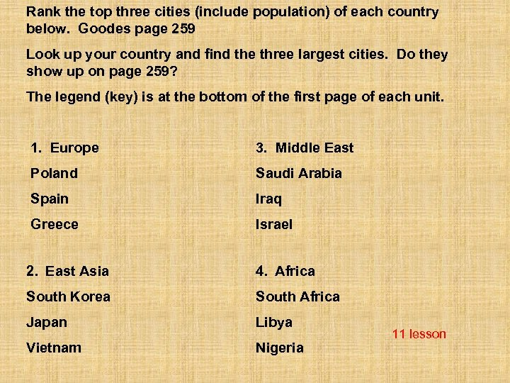 Rank the top three cities (include population) of each country below. Goodes page 259