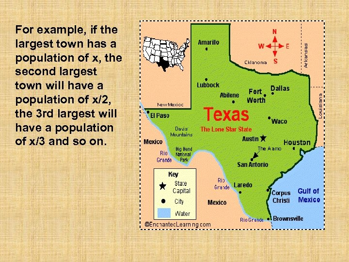 For example, if the largest town has a population of x, the second largest