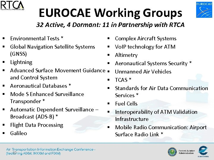 EUROCAE Working Groups 32 Active, 4 Dormant: 11 in Partnership with RTCA § Environmental