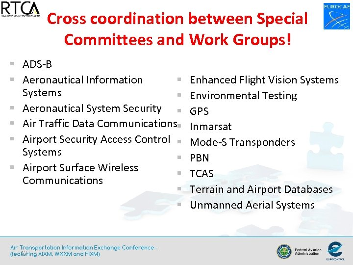 Cross coordination between Special Committees and Work Groups! § ADS-B § § Aeronautical Information