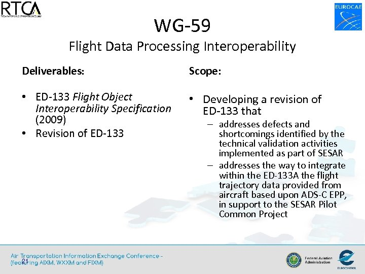 WG-59 Flight Data Processing Interoperability Deliverables: Scope: • ED-133 Flight Object Interoperability Specification (2009)