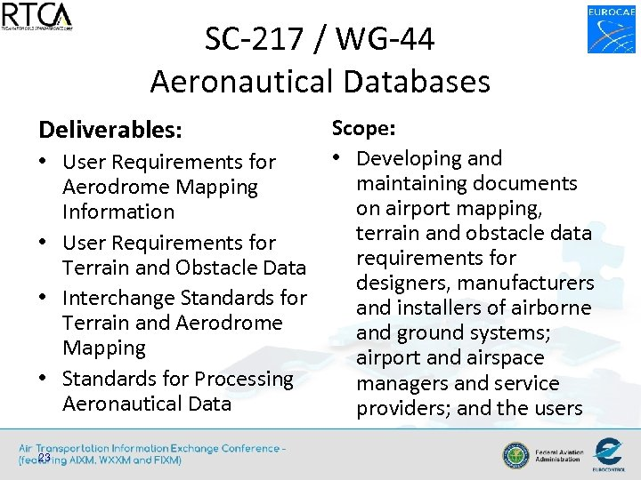 SC-217 / WG-44 Aeronautical Databases Deliverables: • User Requirements for Aerodrome Mapping Information •
