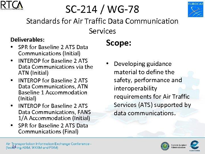 SC-214 / WG-78 Standards for Air Traffic Data Communication Services Deliverables: • SPR for