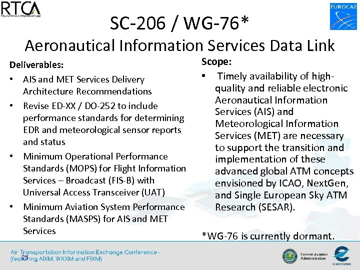 SC-206 / WG-76* Aeronautical Information Services Data Link Deliverables: • AIS and MET Services