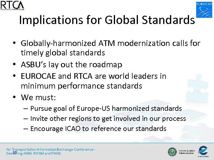 Implications for Global Standards • Globally-harmonized ATM modernization calls for timely global standards •