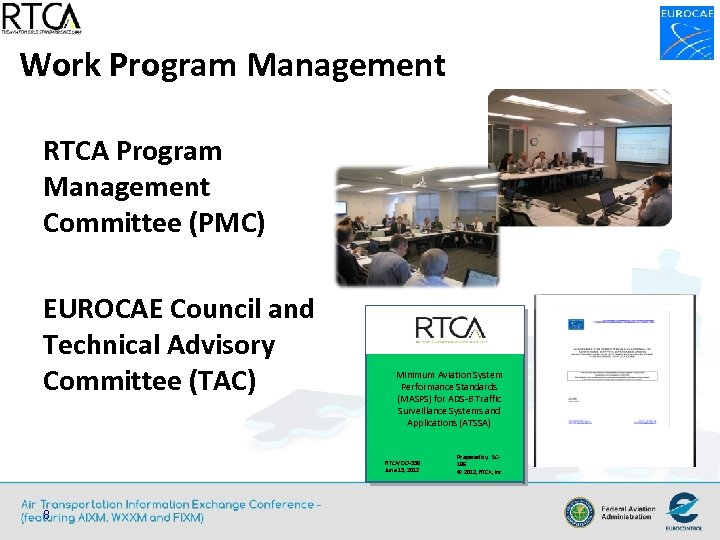 Work Program Management RTCA Program Management Committee (PMC) EUROCAE Council and Technical Advisory Committee