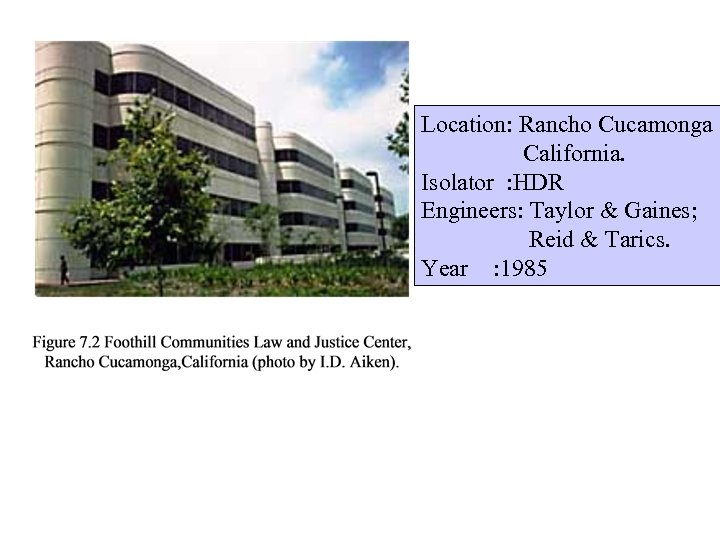Location: Rancho Cucamonga California. Isolator : HDR Engineers: Taylor & Gaines; Reid & Tarics.