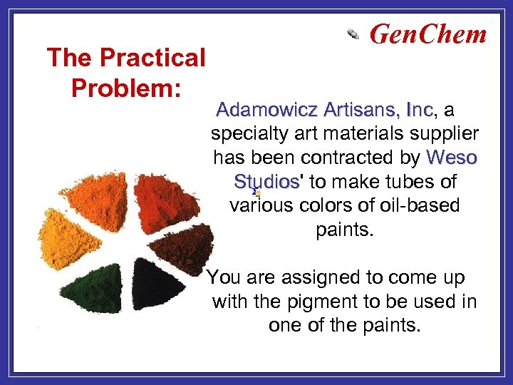 The Practical Problem: Gen. Chem Adamowicz Artisans, Inc, a Artisans, Inc specialty art materials