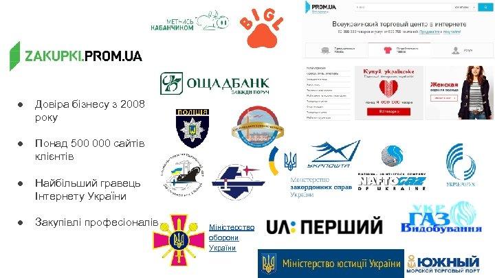 ● Довіра бізнесу з 2008 року ● Понад 500 000 сайтів клієнтів ● Найбільший