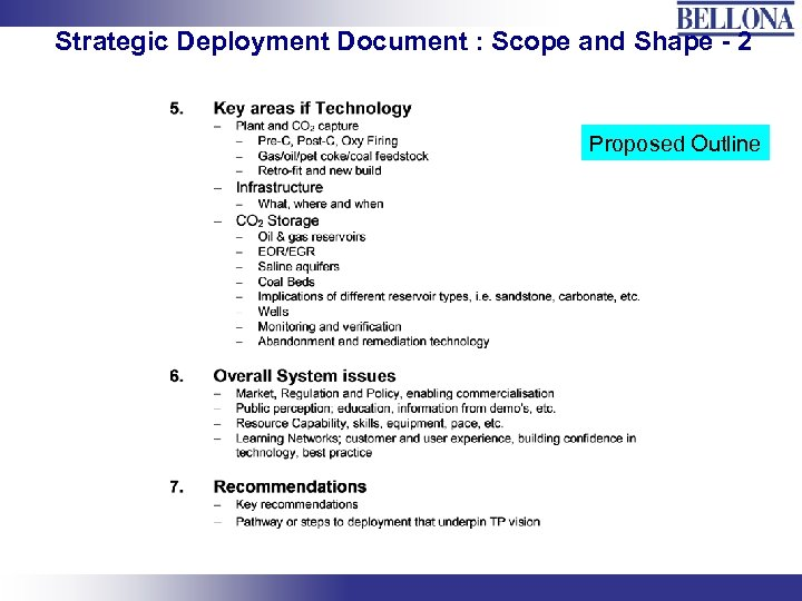 Strategic Deployment Document : Scope and Shape - 2 Proposed Outline