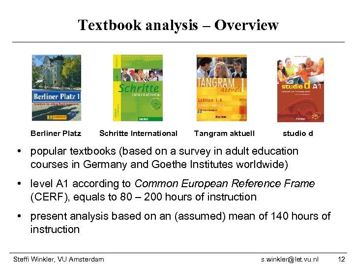 Textbook analysis – Overview Berliner Platz Schritte International Tangram aktuell studio d • popular